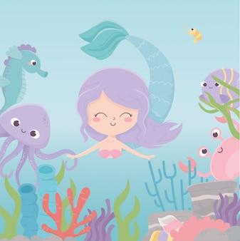 Sereia polvo caranguejo cavalo marinho recife coral dos desenhos animados sob a ilustração vetorial de mar