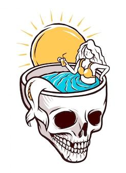 Sereia relaxando em uma ilustração de piscina