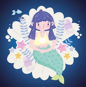 Sereia sentada em uma concha com ilustração de estrelas do mar e medusas