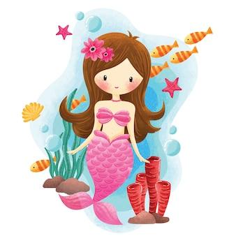 Sereia sob a ilustração do mar