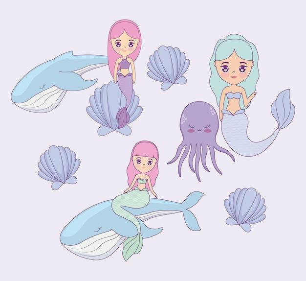 Sereias bonitos com baleias e polvos