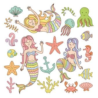 Sereias bonitos e coleção de elementos do mar