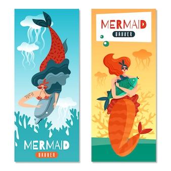 Sereias de cabelos vermelhas engraçadas 2 banners verticais coloridas conjunto com criaturas da vida marinha subaquática