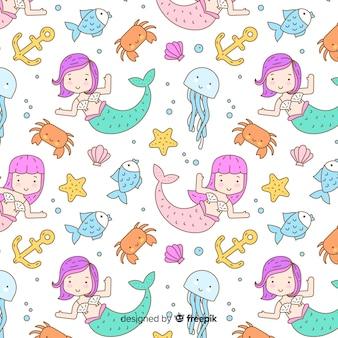 Sereias de mão desenhada padrão de natação