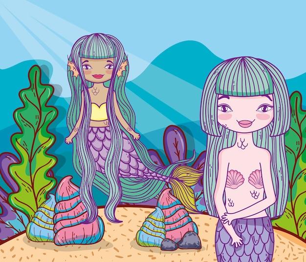 Sereias de mulheres debaixo de água com conchas e plantas