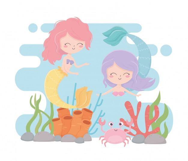Sereias e desenhos animados de recifes de corais de caranguejo sob a ilustração vetorial de mar