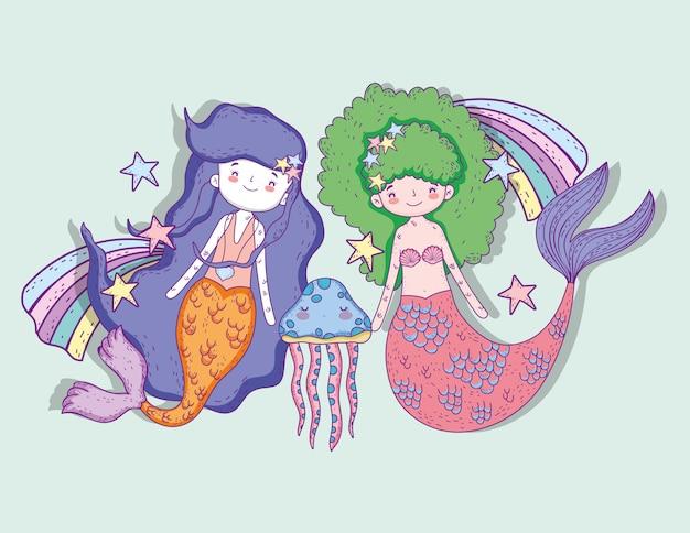 Sereias mulher com água-viva e arco-íris com estrelas