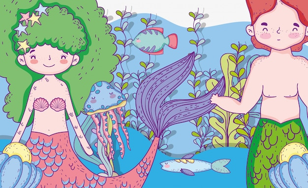 Sereias mulher e homem com folhas de plantas