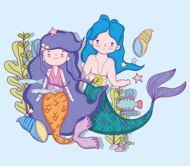 Sereias mulher e homem debaixo d'água com conchas e peixes