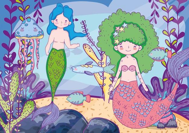 Sereias mulher e homem debaixo d'água com folhas de plantas