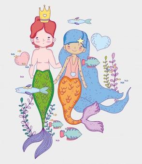Sereias mulher e homem usando coroa com corações e peixes