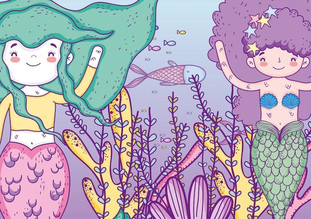 Sereias mulheres debaixo d'água com peixes e plantas