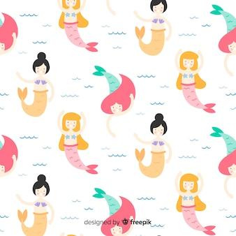 Sereias nadando design plano padrão