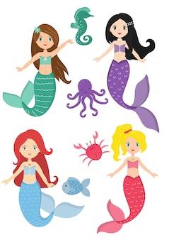 Sereias princesa e natureza aquática