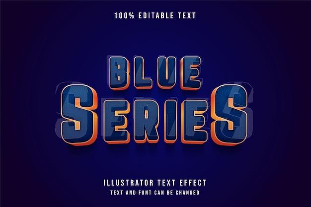 Série azul, efeito de texto editável 3d efeito de estilo ouro amarelo gradação azul
