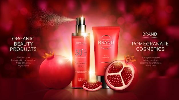 Série cosmética com frutas de romã
