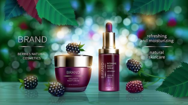 Série cosmética com frutos silvestres realista