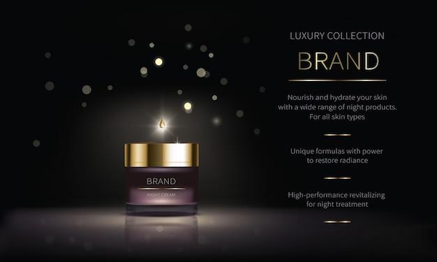 Série cosmética noturna para cuidados com a pele do rosto