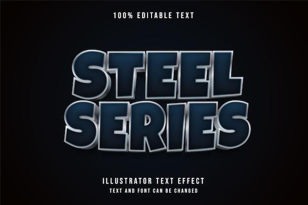 Série de aço, efeito de texto editável gradação de azul e efeito de metal cinza