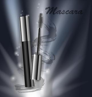 Série de beleza de cosméticos, anúncios de rímel premium em um fundo escuro modelo para cartazes de design, cartaz, logotipo, apresentação, banners, capas, ilustração vetorial.