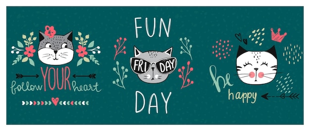 Série de cartão de vetor com gatos bonitos da moda. conjunto de gatinho elegante. ilustração moderna na impressão de t-shirt de estilo de esboço, cartões, pôster. doodle kitty. animais para crianças. personagem engraçada.