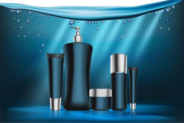 Série de cosméticos azul de embalagem