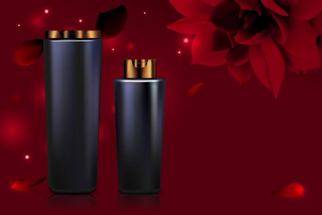Série de frascos de cosméticos