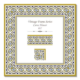 Série de moldura vintage de flor cruzada curva oval Vetor Premium