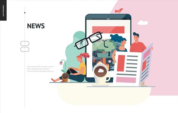 Série de negócios - notícias ou artigos, modelo da web