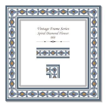 Série de quadros vintage de spiral diamond flower