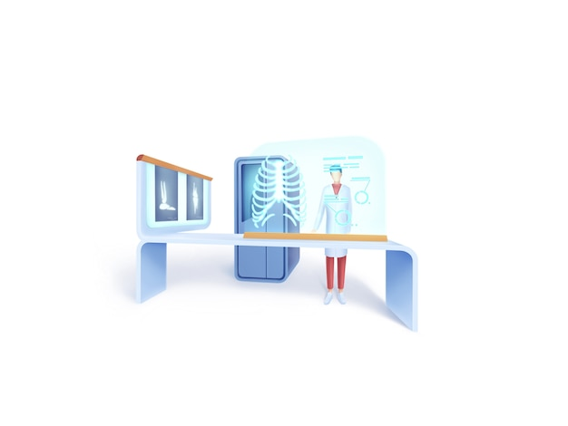 Série de saúde: conceito de ilustração de radiografista