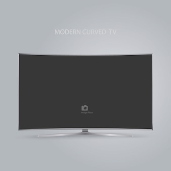 Série de tv hd led inteligente curvo isolada em cinza
