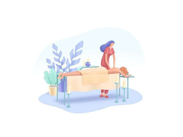Série spa: sala de massagem no centro de spa. menina recebe massagem