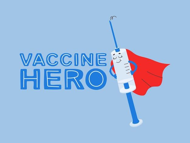 Seringa de desenho animado com vacina personagem motivacional vacinação