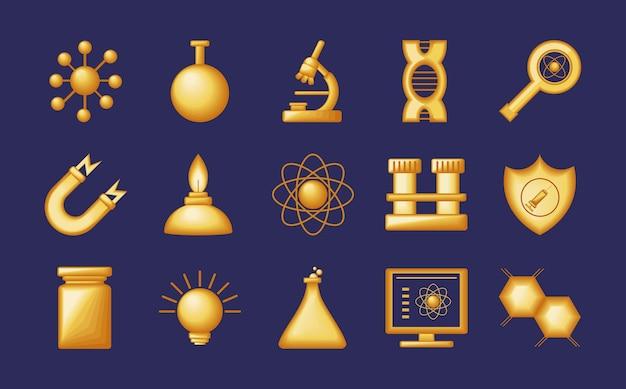 Seringa de ícones dourados