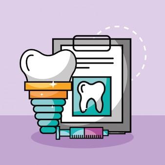 Seringa de implante de cuidados dentários e relatório médico