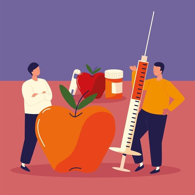 Seringa de maçã para diabéticos