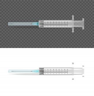 Seringa transparente realista objeto médico ferramenta