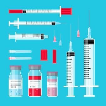 Seringas de cura com vacinas. seringa injetou objetos médicos, injeções e agulhas de injeção, vacinas, garrafas, medicina, ilustração, tratamento, vetorial, ilustração