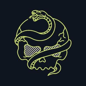 Serpente da morte e caveira