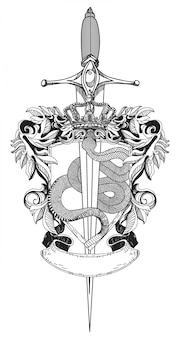 Serpente e espada de tatuagem