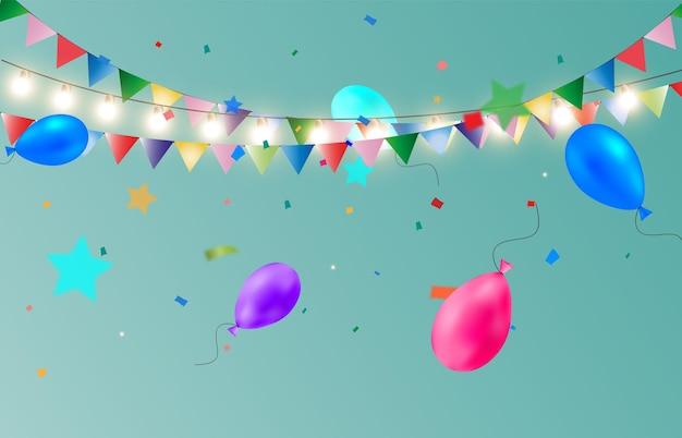 Serpentina colorida com balões modelo de parabéns
