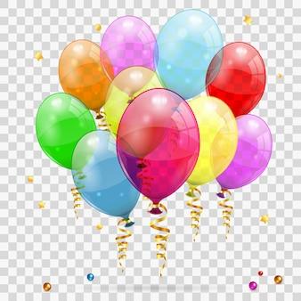 Serpentina de ouro, balões e confetes