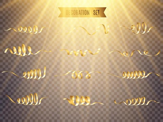 Serpentina dourada e confete isolados em fundo preto.