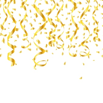 Serpentinas de confete dourado de festa.