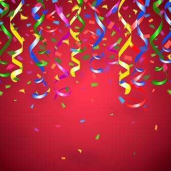 Serpentinas de festa de vetor e fundo vermelho confete