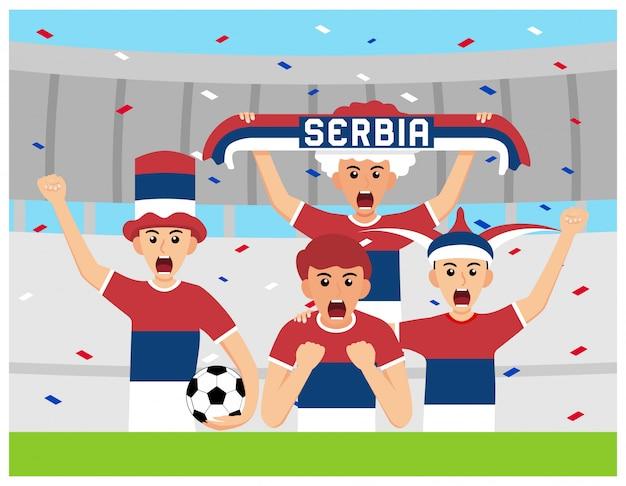 Sérvia apoiadores em design plano