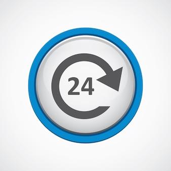 Serviço 24 horas brilhante com ícone de traço azul, círculo, isolado