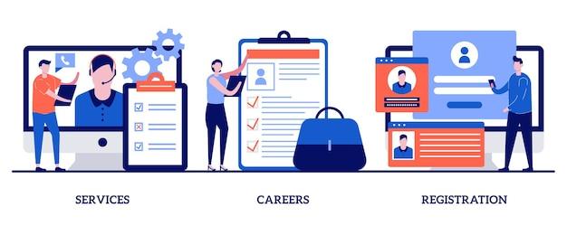 Serviço, carreiras, conceito de página de registro com ilustração de pequenas pessoas