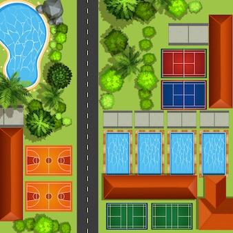 Serviço comunitário com tribunais e piscinas